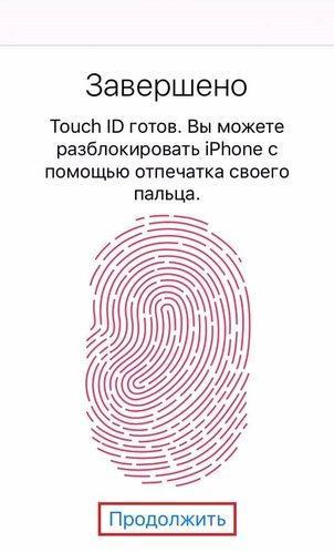 не удается выполнить настройку Touch iD на айфоне