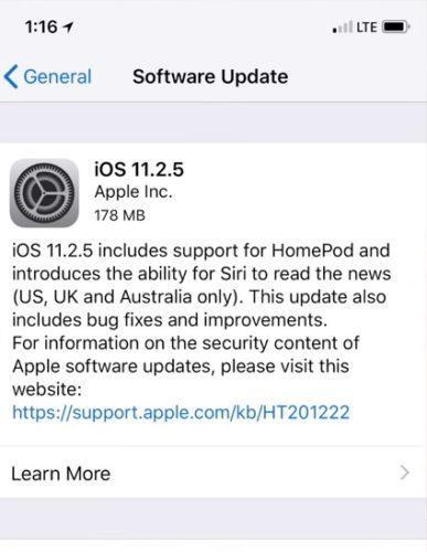 Обновление iOS 11.2.5 на Айфон и Айпад