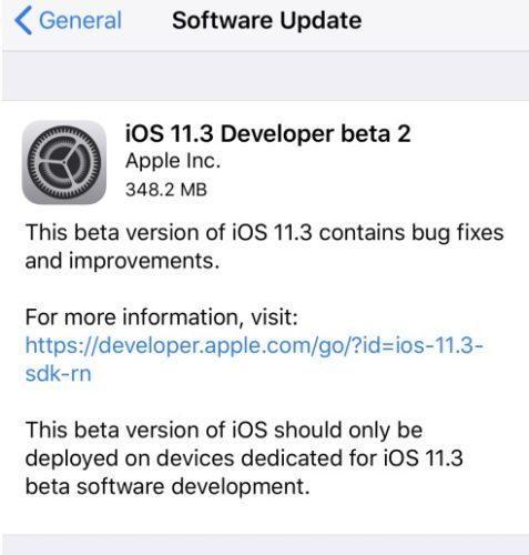 обновление iOS 11.3 beta 2