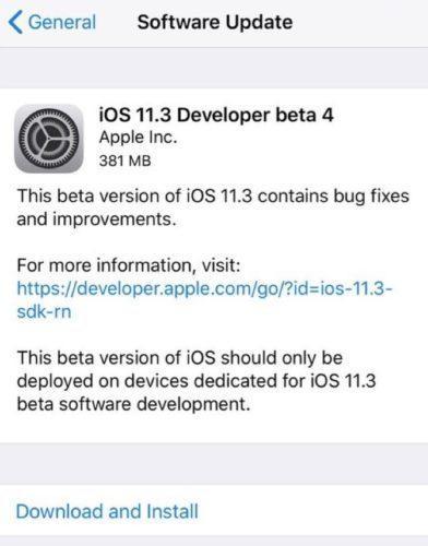 обновление iOS 11.3 beta 4