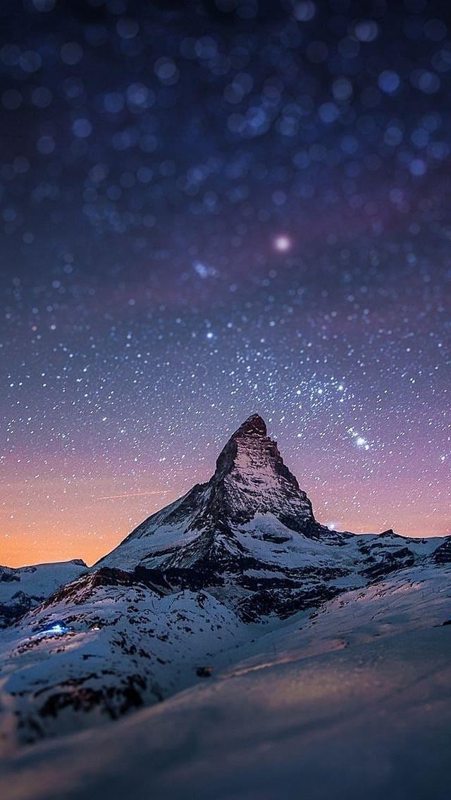 обои на айфон горы звезды