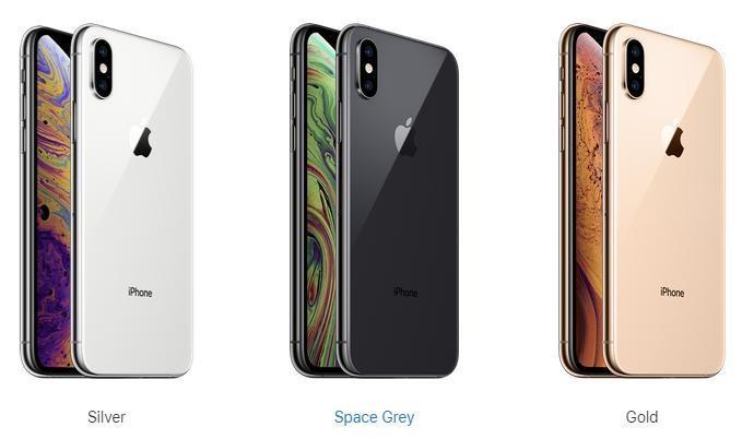 iPhone XS: золотой, серебряный, серый;
