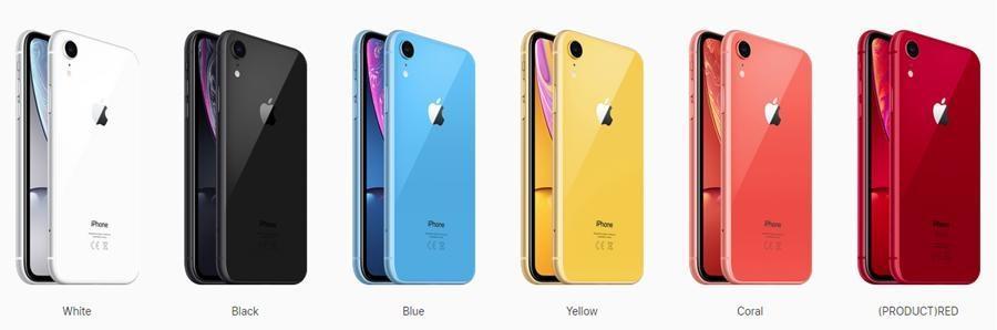 iPhone XR: синий, коралловый, желтый, белый, черный, красный;